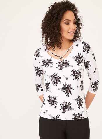 Floral Print ¾ Sleeve Top, White, hi-res