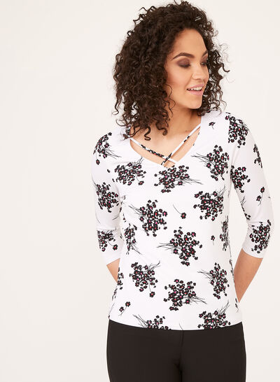 Floral Print ¾ Sleeve Top