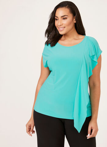 Drop Shoulder Ruffle Trim Blouse, Blue, hi-res