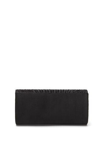Pleated Satin Foldover Clutch, , hi-res