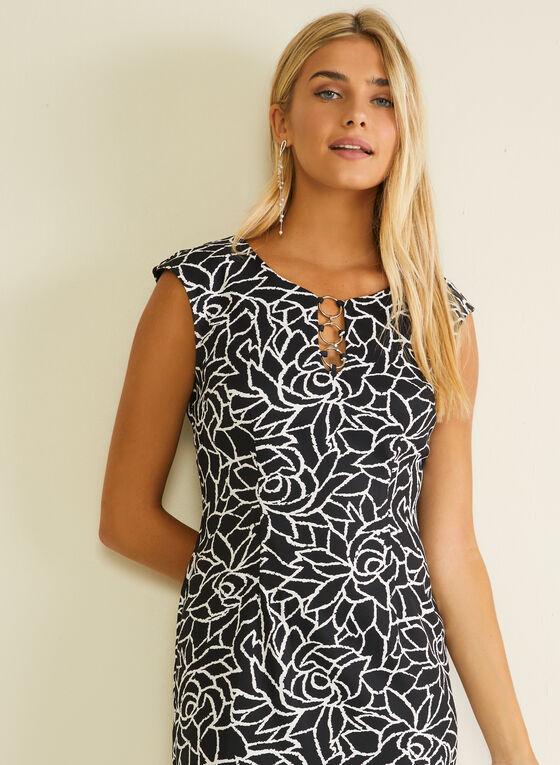 Floral Print Sheath Dress, Black