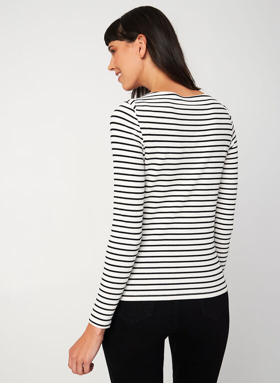 Long Sleeve Stripe Print Top , White