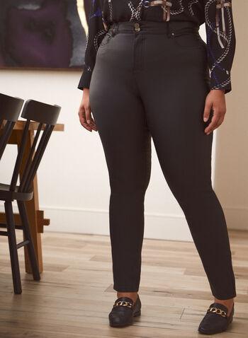 Jean à jambe étroite à effet lustré, Noir,  pantalons, pantalon, bas, jeans, jean, taille haute, jambe étroite, boutons et glissière, ganses pour ceinture, poches, rivets métalliques, denim extensible, effet lustré, automne hiver 2021