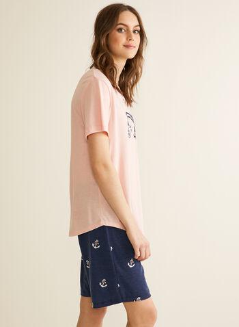 Claudel Lingerie - T-Shirt & Shorts Pyjama Set, Pink,  pyjamas, sleepwear, t-shirt, shorts, print, stretchy, crew neck, short sleeves, spring summer 2020