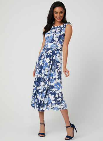 Floral Jersey Dress, Blue, hi-res,  day dress, sleeveless, jersey, textured, floral print, spring 2019