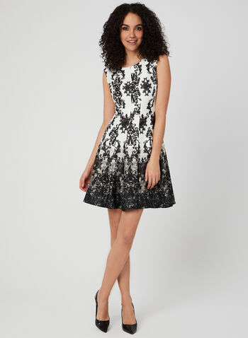 Baroque Print Fit & Flare Dress, Black, hi-res,  spring 2019, sleeveless, scuba, panelled