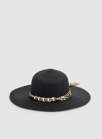 Wide Brim Straw Hat, Black, hi-res