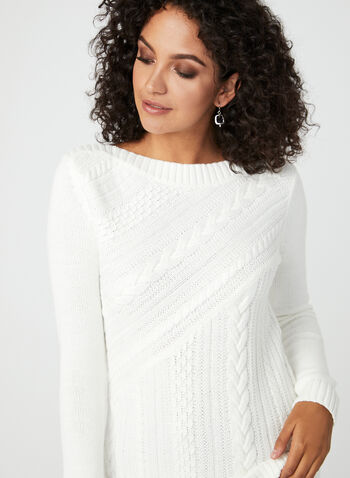 Boat Neck Cable Knit Sweater, Off White, hi-res
