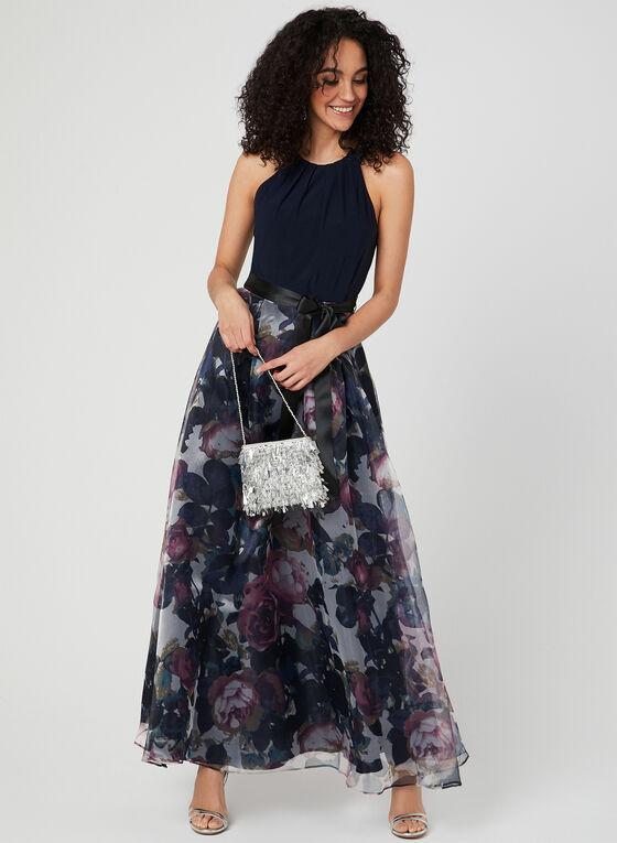 Robe à col cléopâtre et jupe fleurie en organza, Bleu