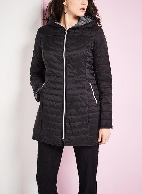Manteau polyfill matelassé ultra léger, Noir, hi-res