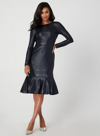 Robe métallisée à ourlet volanté, Bleu, hi-res,  robe cocktail, manches longues, col châle, métallisée, ourlet volanté, automne hiver 2019