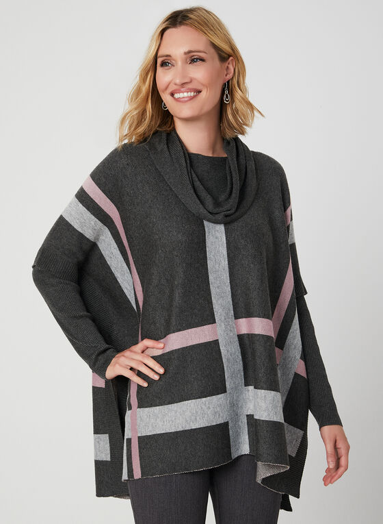 Cowl Neck Poncho Sweater, Grey, hi-res