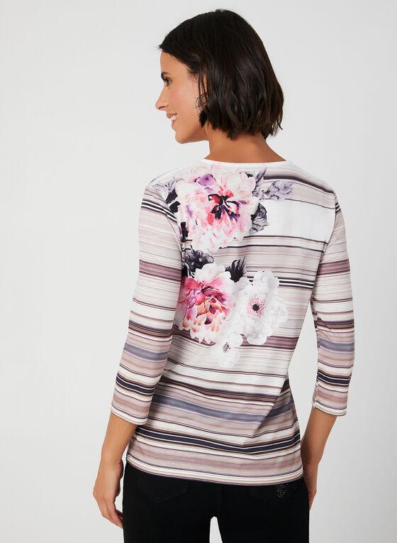 T-shirt à fleurs et rayures, Blanc