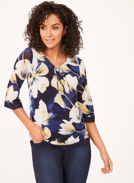 Floral Chiffon Popover Blouse, Blue, hi-res