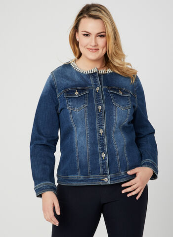 Embellished Jean Jacket, Blue, hi-res