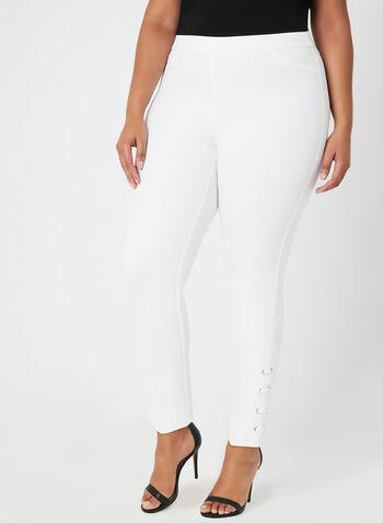 Pantalon coupe cité à détails lacets, Blanc cassé, hi-res,  printemps été 2019, jambe étroite, pull-on