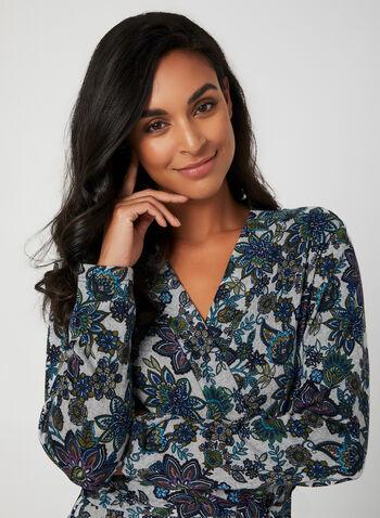 Hamilton - Robe de chambre fleurie, Bleu,  robe de chambre, pyjama, fleurs, peignoir, ceinture, automne hiver 2019