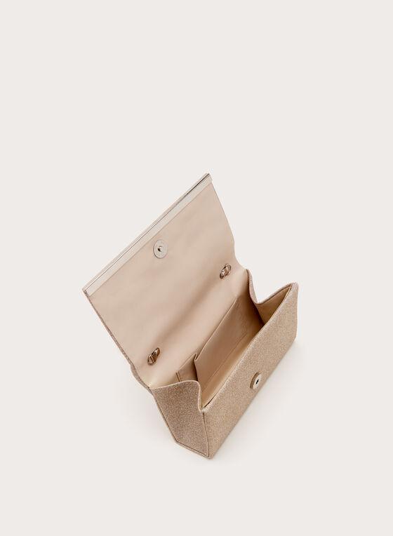 Pochette pailletée avec détail métallisé, Rose, hi-res