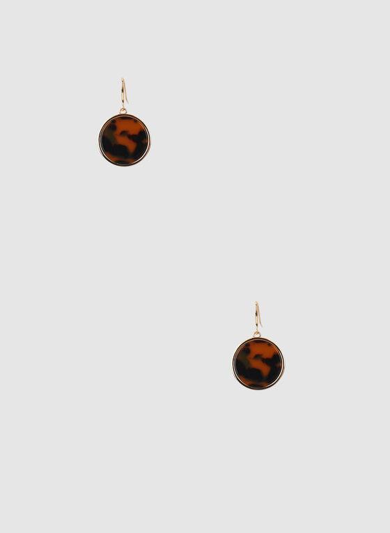 Dangle Earrings, Brown, hi-res