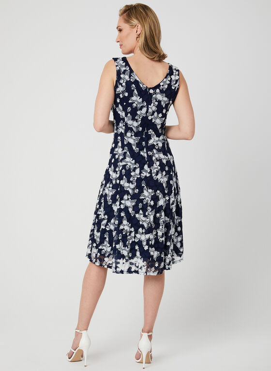 Embroidered Fit & Flare Dress, Blue, hi-res