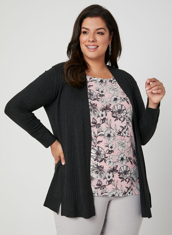 Ribbed Open Front Cardigan, Grey