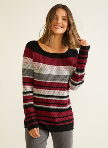 Stripe Print Textured Knit Sweater, Red,  sweater, stripe, textured, knit, long sleeves, fall winter 2020