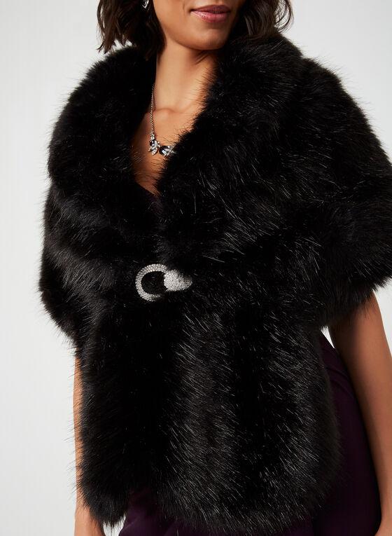 Faux Fur Stole, Black, hi-res