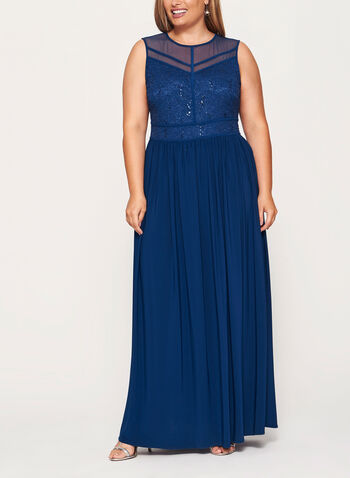 Sleeveless Glitter Lace & Sequin Dress, Blue, hi-res