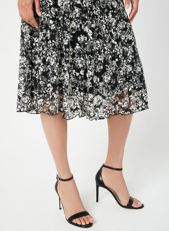 Floral Print Lace Skirt, Black
