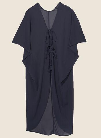 Echo - Cache-maillot en mousseline à pompon, Bleu,  cache-maillot, tunique, mousseline,  manches, pompon, printemps été 2020