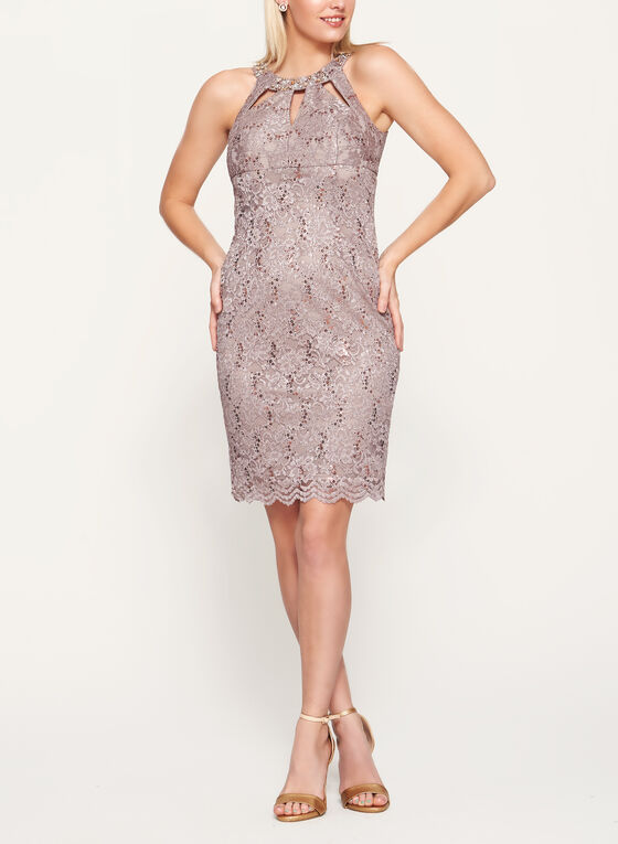 Embellished Cleo Neck Lace Dress, Brown, hi-res