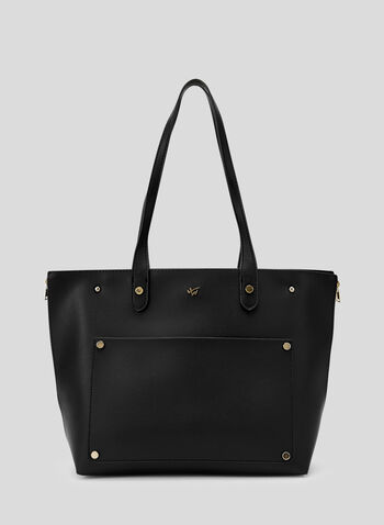 Faux Leather Tote Bag, Black, hi-res