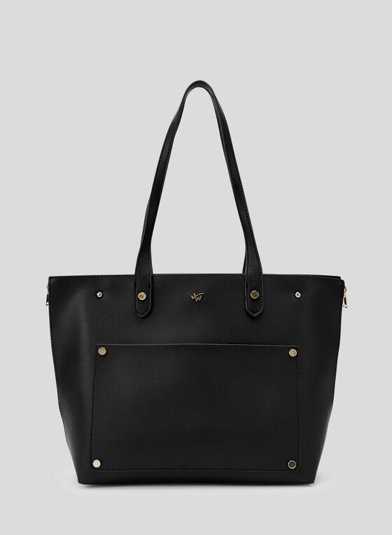 Faux Leather Tote Bag, Black, hi-res