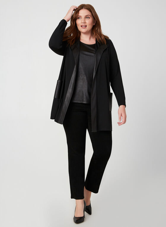 Faux Leather Trim Top, Black