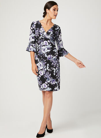 Floral Print Jersey Dress, Black, hi-res