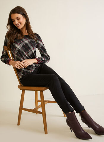 Tartan Print Balloon Sleeve Top, Purple,  fall winter 2020, top, blouse, round neck, long sleeves. smocked, balloon, tartan, made in canada, knit