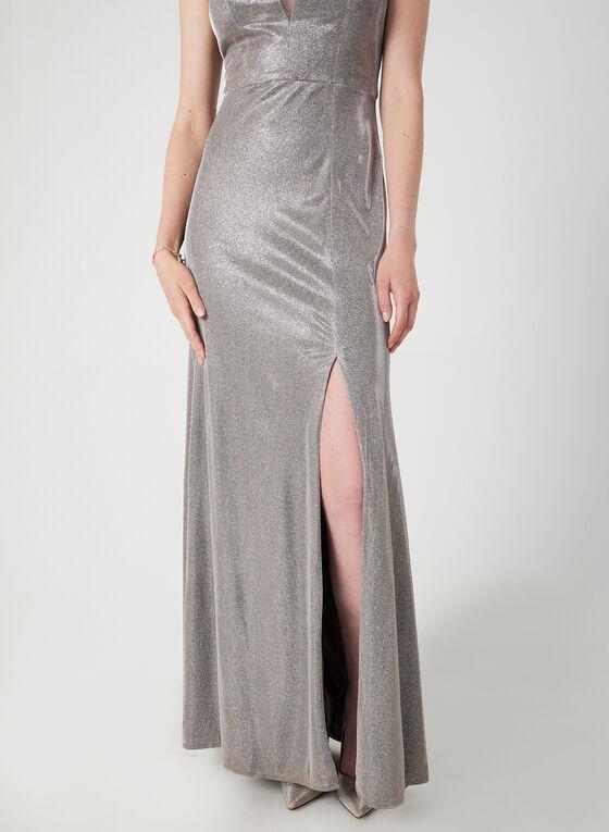 Metallic Mermaid Dress, Off White, hi-res