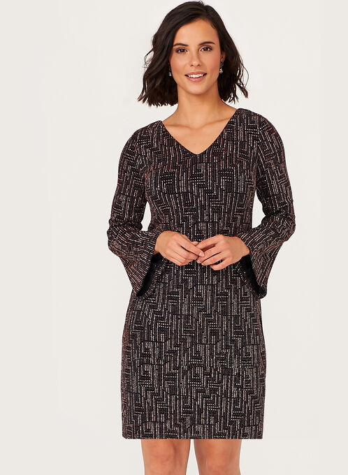 Metallic Bell Sleeve Dress, Black, hi-res