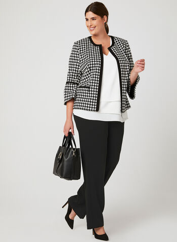 Houndstooth Print Cropped Jacket, Black,