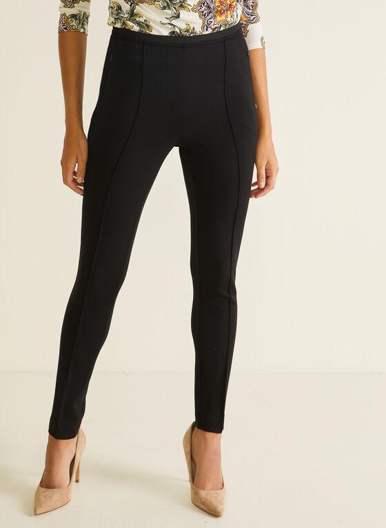 Pintuck Detail Pull-On Pants, Black