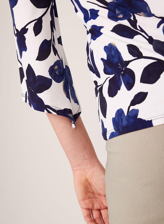 Blouse à imprimé floral et manches cloche, Bleu, hi-res