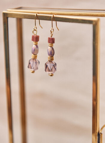 Beaded Dangle Earrings, Purple,  earrings, fish hook, dangle, beads, stones, metallic, spring summer 2021