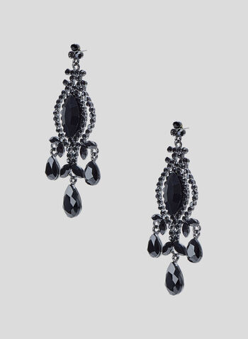 Facetted Stone Chandelier Earrings, Black, hi-res