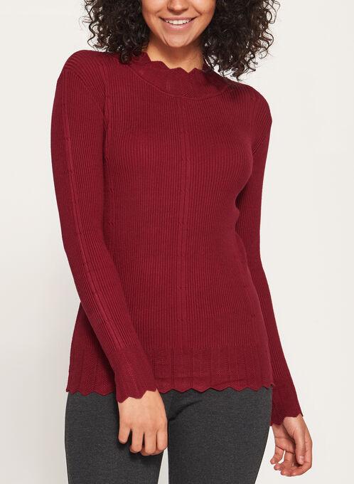 Vex - Pull tricot côtelé échancré à col montant , Rouge, hi-res