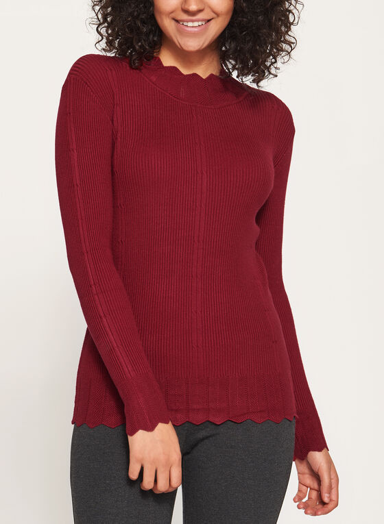 Vex - Scallop Mock Neck Knit Sweater, Red, hi-res