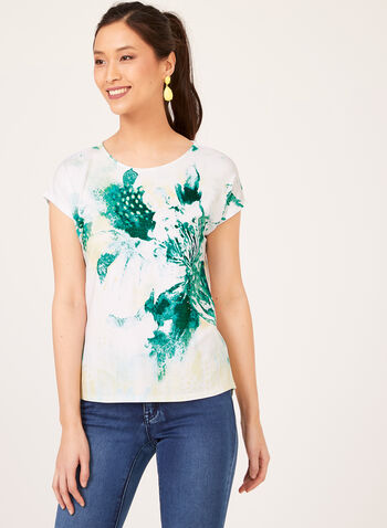 Embellished Watercolour Print Shirt, Blue, hi-res