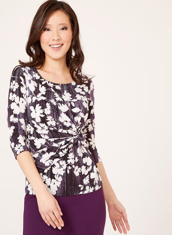 Abstract Floral Print Draped Top, Purple, hi-res