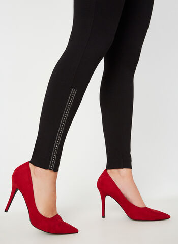 Legging à détails billes, Noir,  legging, pull-on, billes, point de Rome, automne hiver 2019