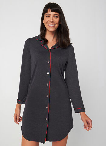 Midnight Maddie - Long Sleeve Nightshirt, Grey, hi-res,  Midnight Maddie, sleepwear, pyjama, nightgown, nightshirt, fall 2019, winter 2019