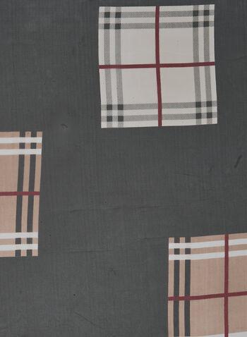Plaid Print Lightweight Scarf, Black,  scarf, lightweight, plaid, fall winter 2020